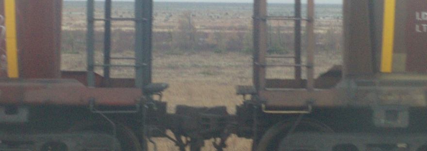 Cropped photograph of two railway freight carriages in the desert. Image © Jennifer Pendergast